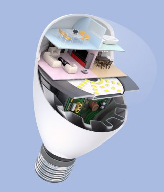 House appliances and furniture in a LED light bulb. Ecology life concept
