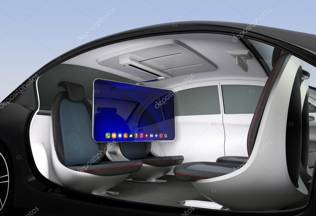 concept d'intérieur voiture autonome — photographie chesky_w