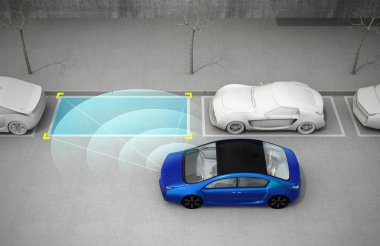 Blue electric car driving into parking lot with parking assist system