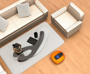 Robotic vacuum cleaner moving on flooring