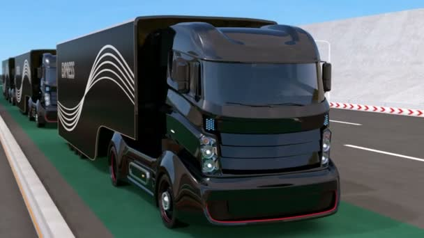 Fleet of autonomous hybrid trucks driving on wireless charging lane