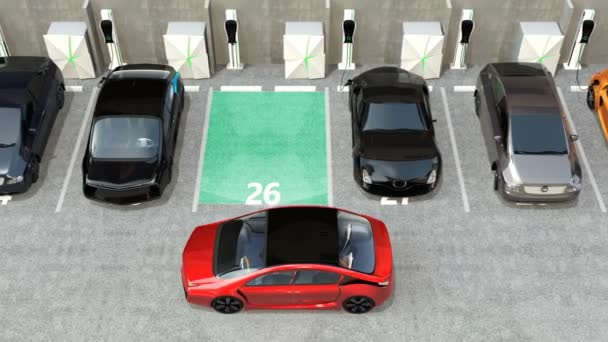 Red electric car driving into parking lot navigated with parking assist system