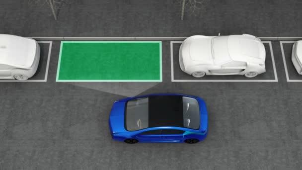 Modré elektrické auto na parkoviště k nim s parkovací asistent systém