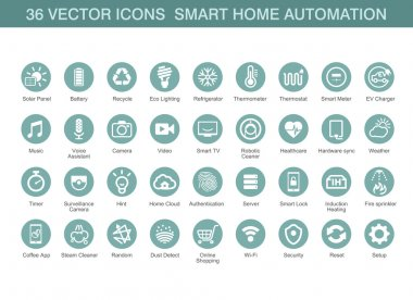 Vector icons for smart home automation