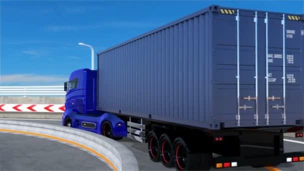 Modrá hybridní nákladních aut na dálnici