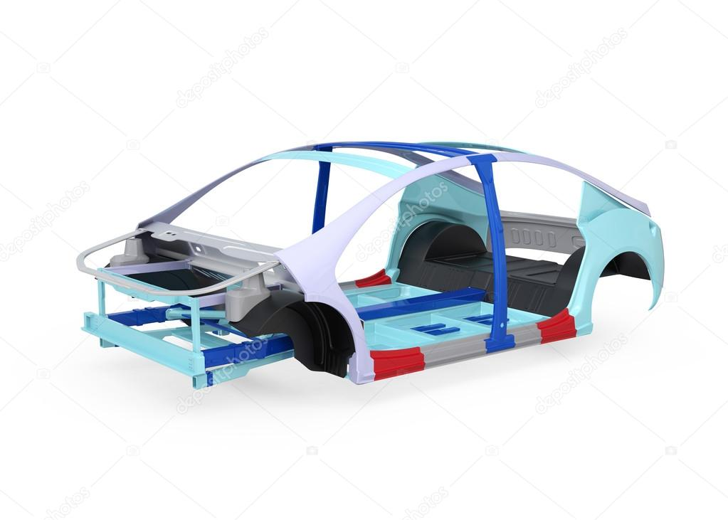 Elektrofahrzeug Körperrahmen isoliert auf weißem Hintergrund ...