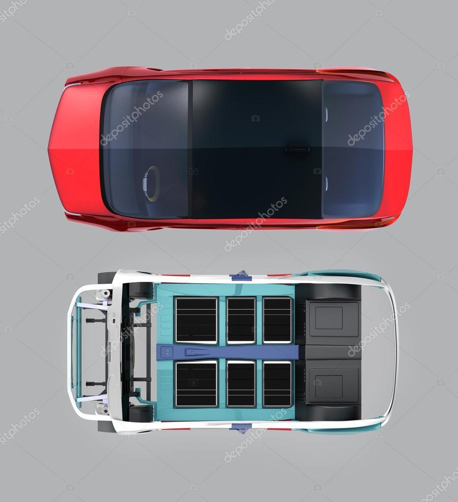Draufsicht der rote Auto und Auto Körperrahmen isoliert auf grauem ...