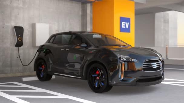 Black electric SUV recharging in parking garage