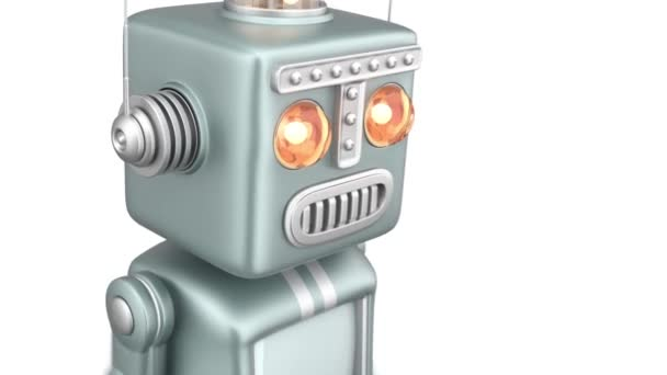 ročníku robot běží na bílém pozadí