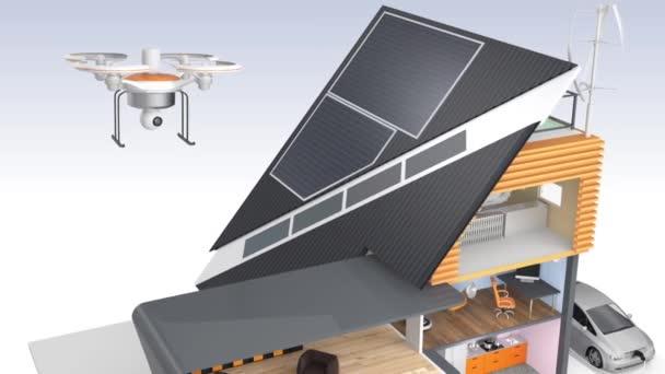 Efektivní energie dům s solární panely, větrné turbíny generátoru