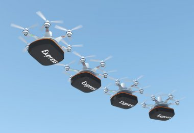Row of drones carrying containers  for fast delivery concept