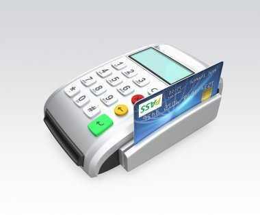 Credit card swiping through a card-reader isolated on gray background