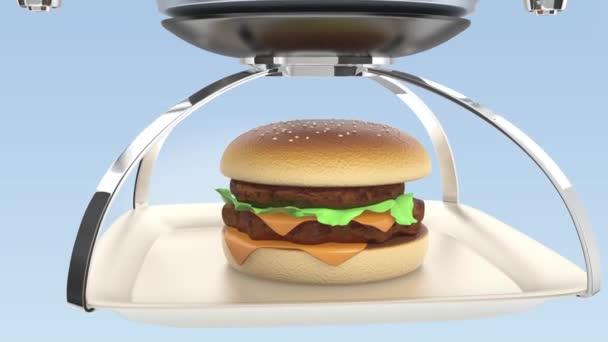 Drone, nesoucí hamburger pro dodání koncept rychlého občerstvení