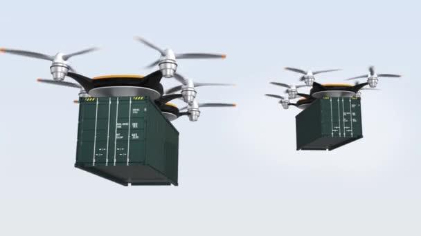 Těžké drones přistání na zemi pro doručování nákladní kontejnery