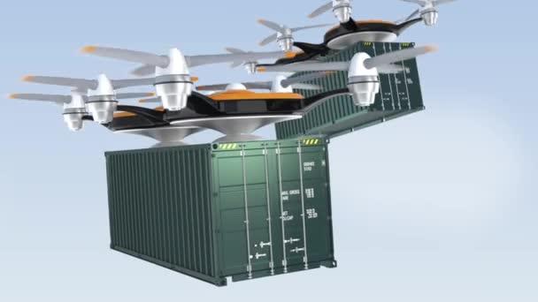 Těžké drones poskytování nákladní kontejnery v nebi