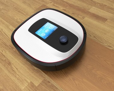 Robot vacuum cleaner moving on flooring