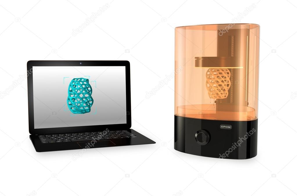sla 3d drucker und laptop computer mit druck 3d modell auf dem bildschirm stockfoto chesky w. Black Bedroom Furniture Sets. Home Design Ideas