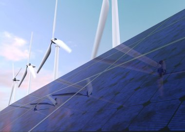 Solar panels and wind generators against blue sky