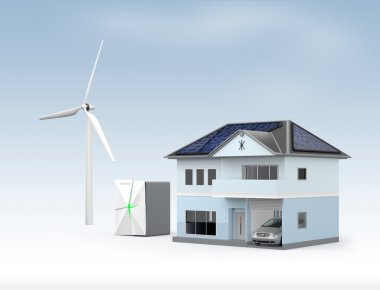 Stationary battery system and house. Concept for home energy storage solution