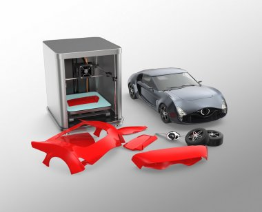 3D printer printing car body parts. Concept for customize printing service