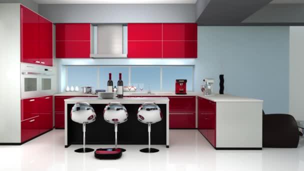 Robotické vysavače v interiéru moderní kuchyň