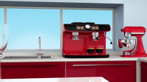 Espresso machine in modern kitchen interior