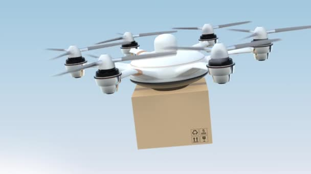 Drone delivery cardboard package to the orders home