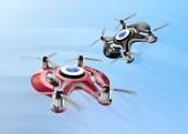 Red racing drones chasing in the sky. Original design.