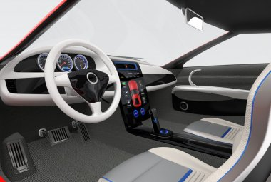 Futuristic electric vehicle dashboard and interior design. 3D rendering image with clipping path.