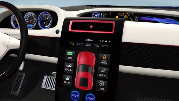 Demonstration of  electric car console UI design.