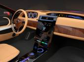 Photo Stylish electric car interior with luxury wood pattern decoration.