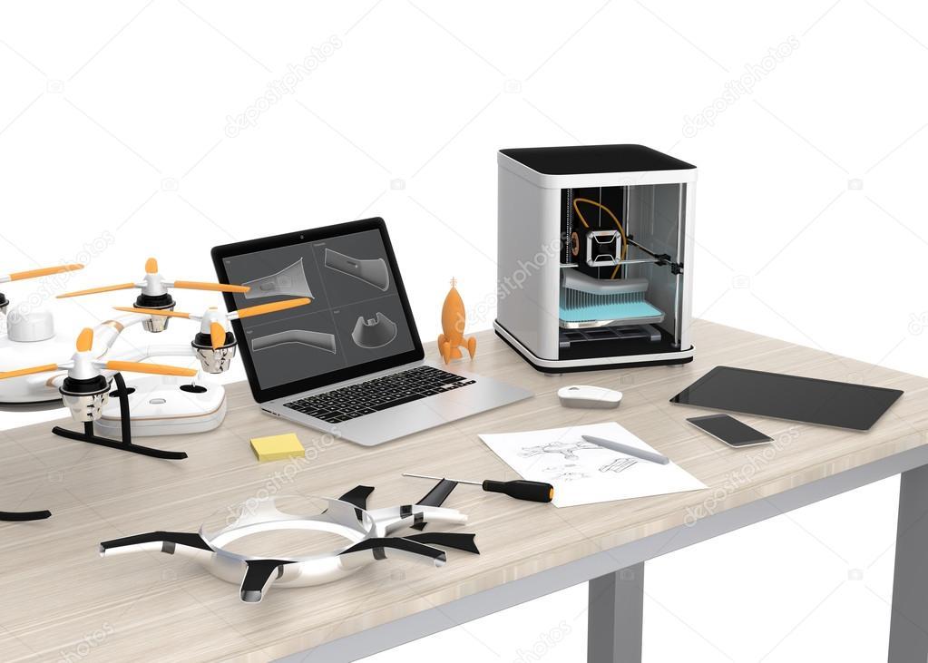 Tafel Voor Printer : D printer laptop tablet pc en drone op een tafel u stockfoto