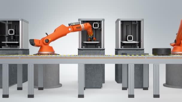 3D-Drucker und Roboterarme im Förderband