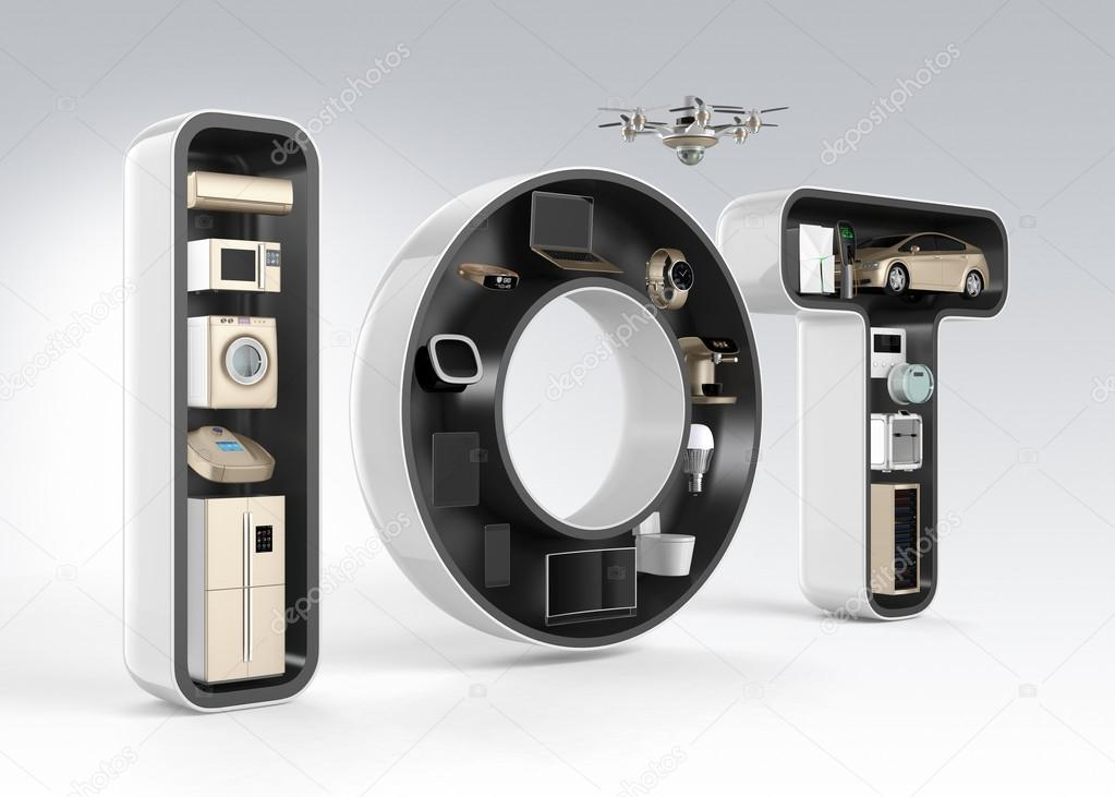 Smart appliance in word IoT. Internet of Things in consumer products concept