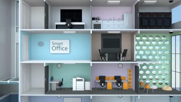 Animovaná ukázka inteligentní kancelářská budova koncepce