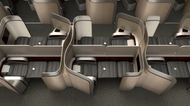 Luxurious business class cabin interior with metallic gold partition