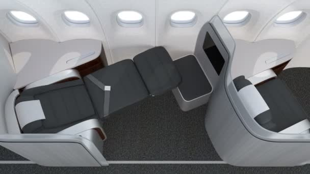 Luxurious business class cabin interior with frosted acrylic partition