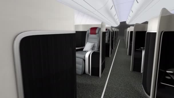 3D animation of luxurious business class cabin interior