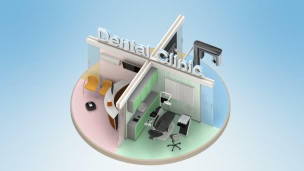 Opakování animace zubní klinika interiéru