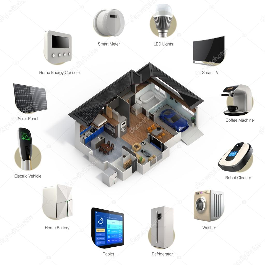 Smart Home Technologies: 3D Infographics Of Smart Home Automation Technology