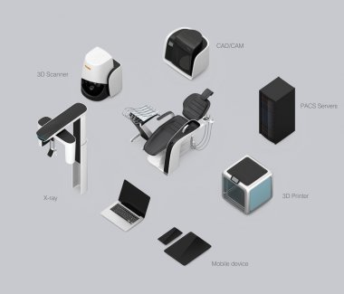 Dental chair, CT, camera, scanner, milling, 3D printer and CADCAM equipment. Concept for digital dentistry.