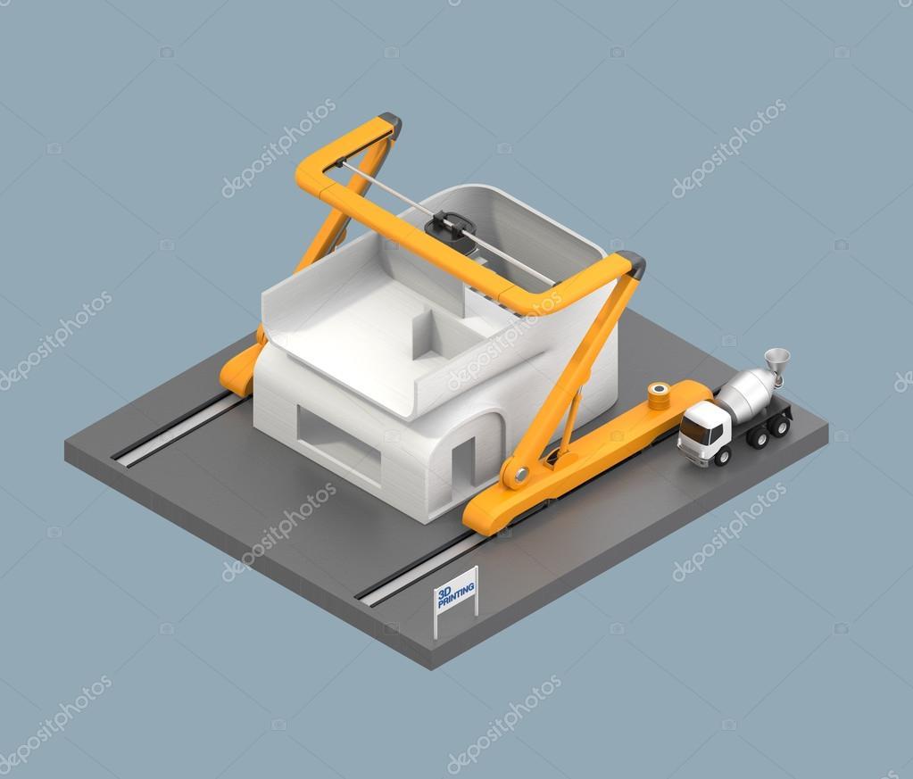 Awesome Industrielle 3d Drucker Drucken Haus Modell. Bild 3D Rendern Mit  Beschneidungspfad Verfügbar U2014 Foto Von Chesky_w