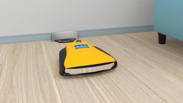 Animation von einem gelben Roboter Staubsauger im Wohnzimmer