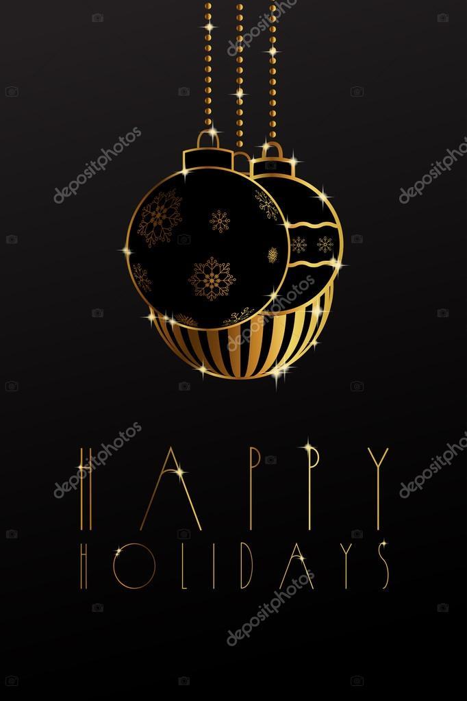 adornos de oro con copos de nieve sobre un fondo negro u vector de daviddark