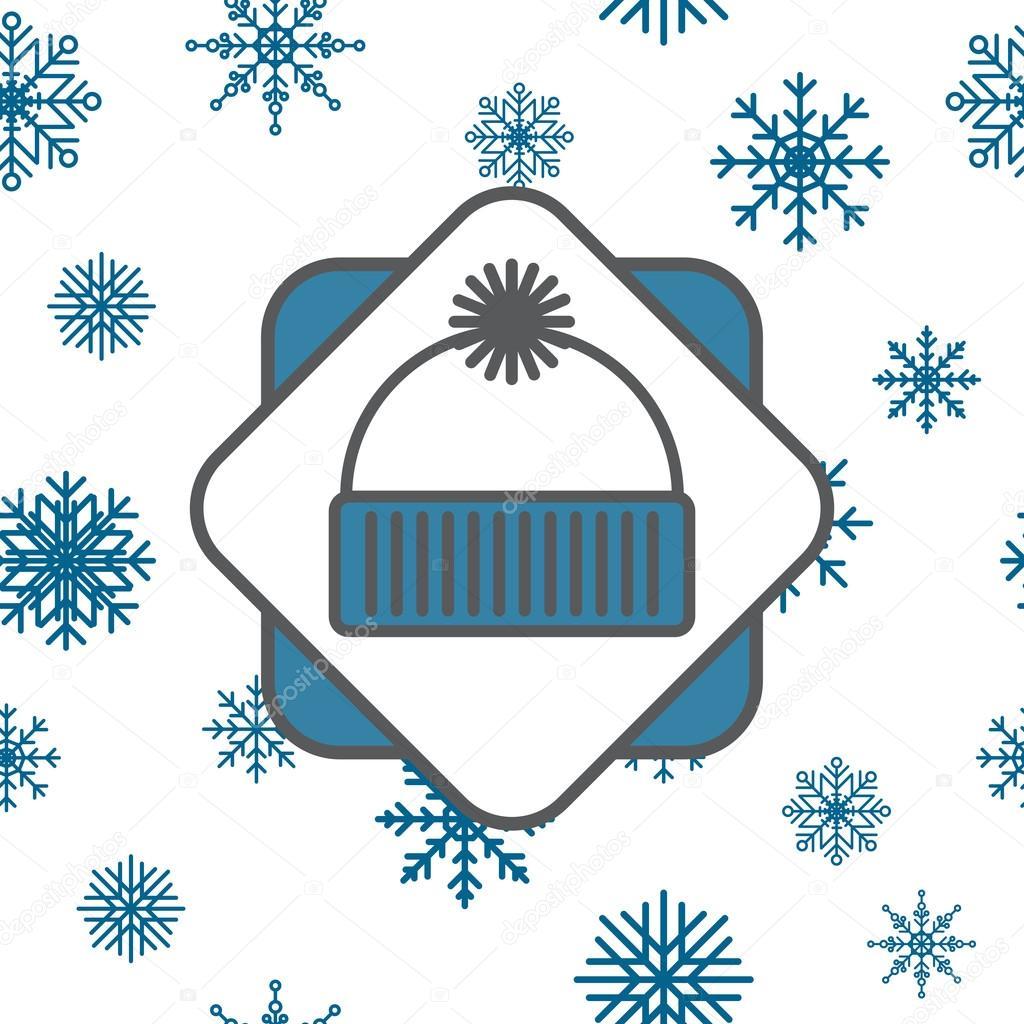 icono de gorro con copos de nieve transparente — Foto de stock ...