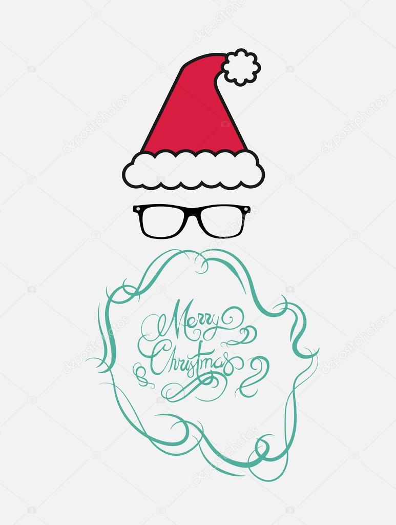 Merry Christmas In Cursive.Merry Christmas Message Vector In Cursive Green With Santa