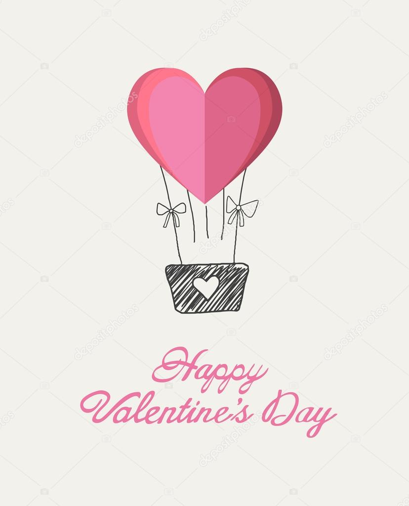 Happy Valentines Day Vector With Heart Hot Air Balloon Stock