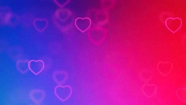 Gyönyörű Heart  Love színes háttér 3d zökkenőmentes felvétel 4K - Romantikus színes csillogó  repülő szívek. Animált háttér a romantika, szerelem, Valentin nap és születésnap Meghívó.