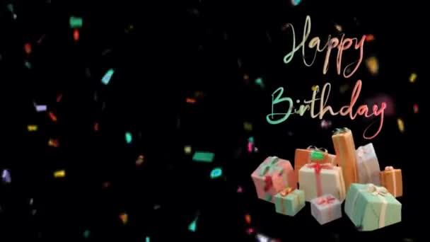 Narozeniny Pozdrav a Confetti Falling 4K Animation. Abstraktní bezešvé Happy Birthday text s barevnou party, barevné konfety a dárkové taneční pozadí.