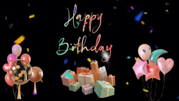 Birthday Greeting and Confetti Falling 4K Animation. Abstract seamless Happy Birthday text with colorful party, colorful confetti and gift dancing background.